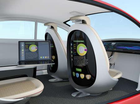 coche autónomo entre concepto. Ordenador portátil de sincronización a la pantalla de asiento para visualizar el documento de negocios, concepto para un nuevo estilo de trabajo de negocios en el futuro. Representación 3D de la imagen.