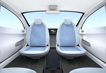 Auto-conducción de coches de concepto entre otras. Los asientos delanteros pueden girar hacia atrás. Ayudar a mejorar la comunicación. Imagen de representación 3D Foto de archivo