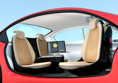 Self-driving car interior concept. Driver seats could turned to rear side, people can have short meeting while they on the way.  3D rendering image