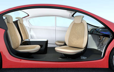 navigating: Self-driving car interior concept. Driver seats could turned to rear side, people can have short meeting while they on the way.  3D rendering image