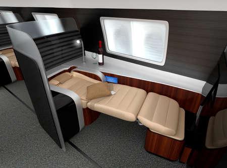 classes: Luxurious business class interior. 3D rendering image in original design.
