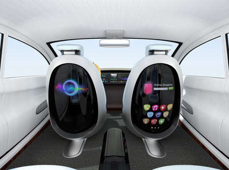 Autonomous car interior concept. Front seats equipped with monitors help Passengers enjoying internet while they travelling on the road.