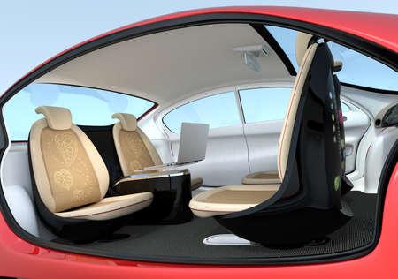 自動運転車のインテリア コンセプト。席が後ろ向きになります。コミュニケーションの向上に役立ちます。3 D レンダリング画像
