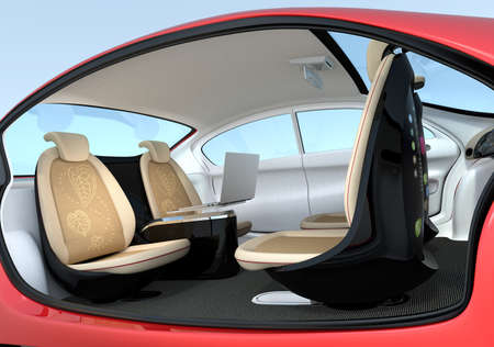 autonomous: Self-driving car interior concept. Front seats could turn backward. Help to improve communication. 3D rendering image Stock Photo