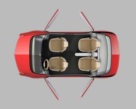 自動運転車断面図イメージの平面図です。走行モードで開かれているとフロント席をドアします。3 D レンダリング画像