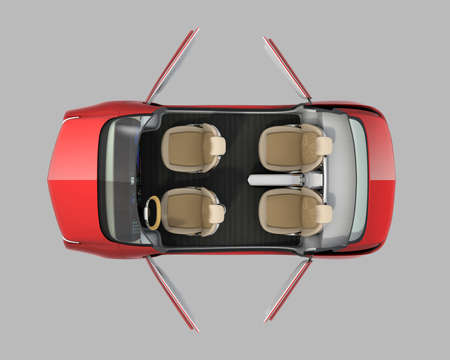 cutaway: Top view of self-driving car cutaway image. Door opened and front seats in driving mode. 3D rendering image