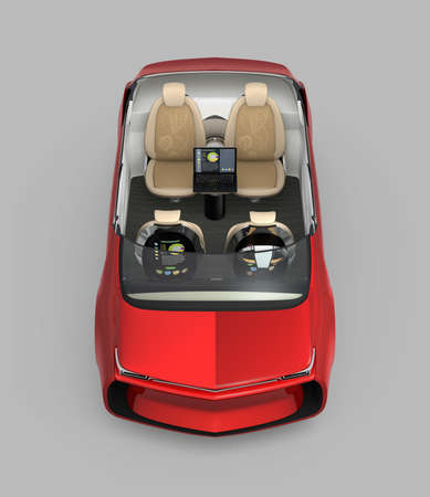 turned: Front view of self-driving car cutaway image. Front seats turned backward in meeting mode. 3D rendering image