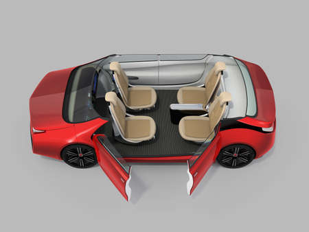 Self-driving car cutaway image. Left doors opened and front seats turned backward in meeting mode. 3D rendering image