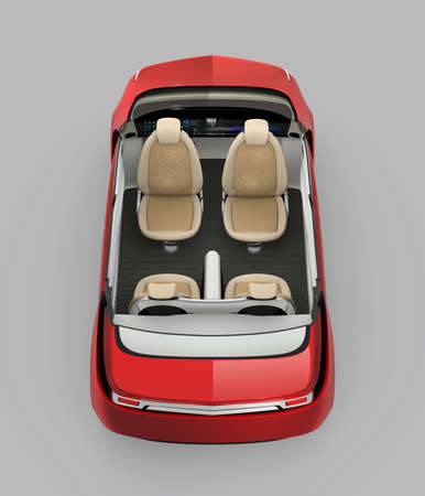 cutaway: Rear view of self-driving car cutaway image. Front seats turned backward in meeting mode. 3D rendering image