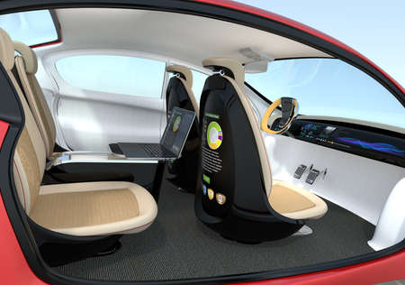 Autonomous car interior concept. Backrest equip with LCD monitor which showing  business document, Concept for new business work style in future. 3D rendering image. 스톡 콘텐츠