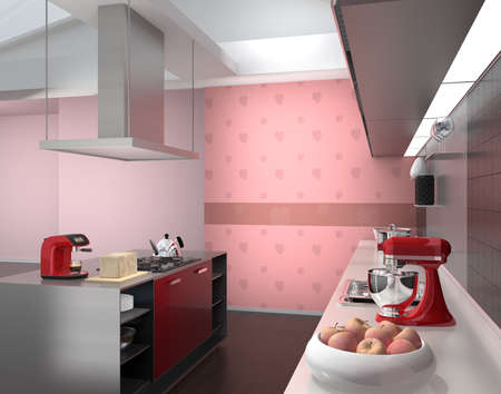modern kitchen: Modern kitchen interior with pink monstera wallpaper. 3D rendering image.