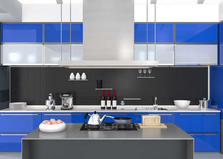 modern kitchen: Modern kitchen interior with smart appliances in blue color coordination. 3D rendering image. Stock Photo