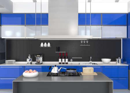 Moderne keuken interieur met slimme apparaten in blauwe kleur coördinatie. 3D-rendering afbeelding. Stockfoto