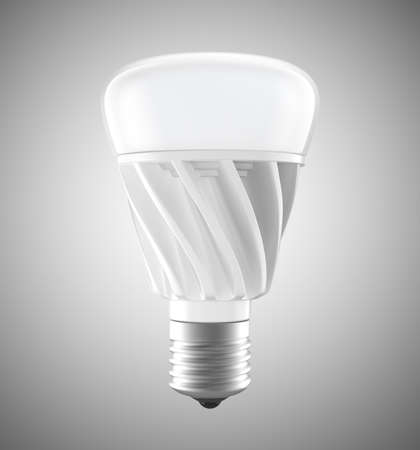 economical: Energy efficient LED light bulbs isolated on gray background. 3D rendering image
