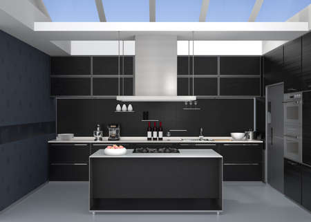 Modern kitchen interior with smart appliances in black color coordination. 3D rendering image.