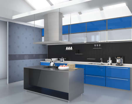 range fruit: Modern kitchen interior with smart appliances in blue color coordination. 3D rendering image. Stock Photo