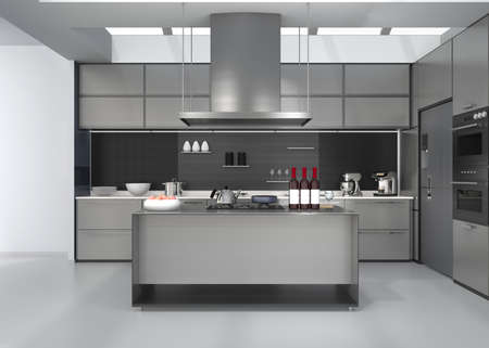 cooktop: Modern kitchen interior with smart appliances in silver color coordination. 3D rendering image.