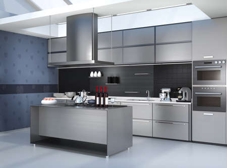 range fruit: Modern kitchen interior with smart appliances in silver color coordination. 3D rendering image.