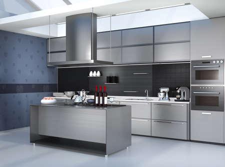 Moderna tra cucina con elettrodomestici intelligenti in coordinazione di colore argento. 3D rendering di immagini. Archivio Fotografico