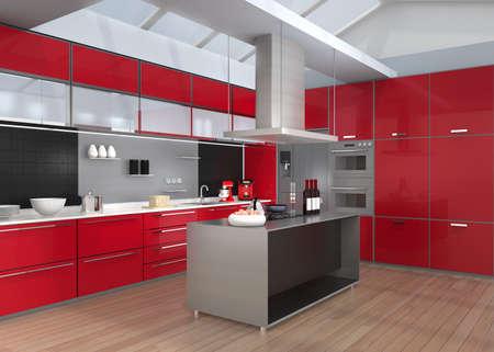 Moderna tra cucina con elettrodomestici intelligenti in coordinazione di colore rosso. 3D rendering di immagini.