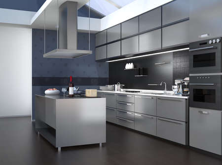 modern kitchen: Modern kitchen interior with smart appliances in silver color coordination. 3D rendering image.