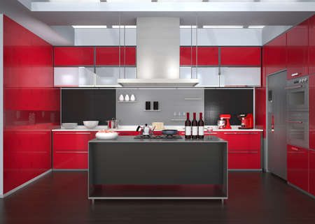 range fruit: Modern kitchen interior with smart appliances in red color coordination. 3D rendering image. Stock Photo