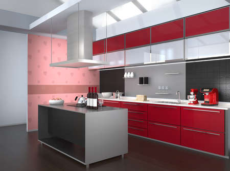 range fruit: Modern kitchen interior with pink monstera wallpaper. 3D rendering image.