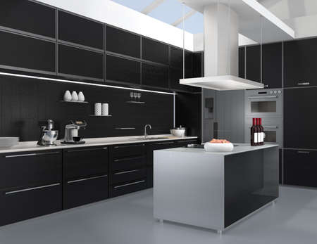cooktop: Modern kitchen interior with smart appliances in black color coordination. 3D rendering image.