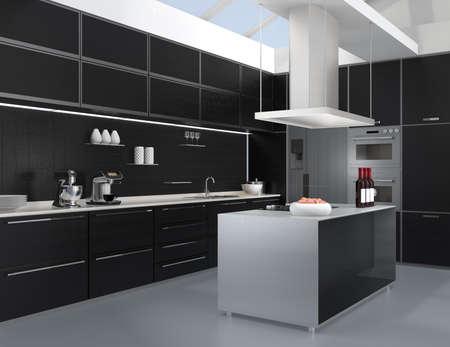 Moderne Küche Interieur mit intelligenten Geräten in schwarzer Farbe Koordination. 3D-Rendering-Bild.