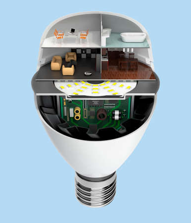 led: House appliances and furniture in a LED light bulb. Ecology life concept. 3D rendering image.