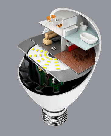 heat sink: House appliances and furniture in a LED light bulb. Ecology life concept. 3D rendering image.
