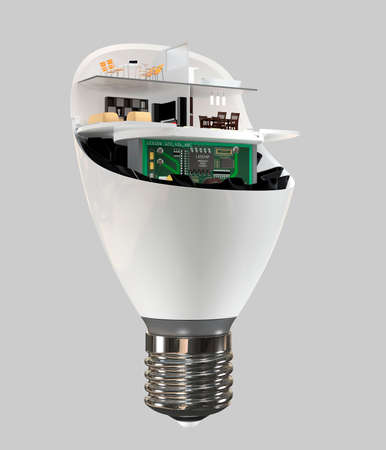 House appliances and furniture in a LED light bulb. Ecology life concept. 3D rendering image.