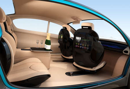 backrest: Autonomous car interior concept. Luxury interior serve cool drink service. Seat backrest equip with LCD monitor for multimedia entertainment. 3D rendering image. Stock Photo