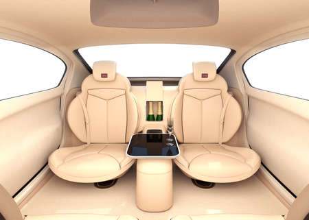 luxury interior: Autonomous car interior concept. Luxury interior serve cool drink service. Seat backrest equip with LCD monitor for multimedia entertainment. 3D rendering image. Stock Photo