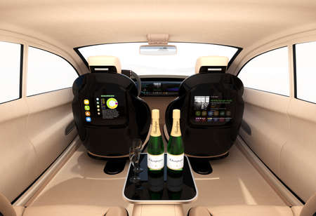 robo: Autonomous car interior concept. Luxury interior serve cool drink service. Seat backrest equip with LCD monitor for multimedia entertainment. 3D rendering image. Stock Photo