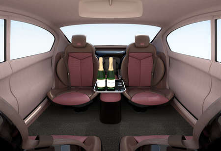 lcd monitor: Autonomous car interior concept. Luxury interior serve cool drink service. Seat backrest equip with LCD monitor for multimedia entertainment. 3D rendering image. Stock Photo