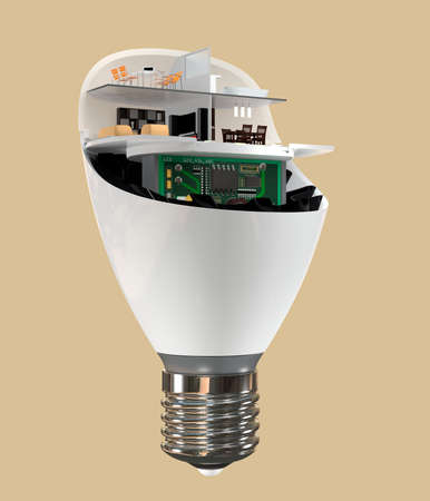 coolant: House appliances and furniture in a LED light bulb. Ecology life concept. 3D rendering image