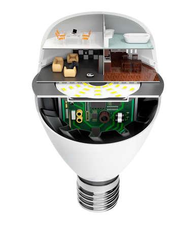 energia electrica: electrodomésticos y muebles en una bombilla de luz LED. Ecología concepto de la vida. Imagen de representación 3D Foto de archivo
