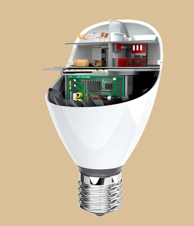 led: House appliances and furniture in a LED light bulb. Ecology life concept. 3D rendering image