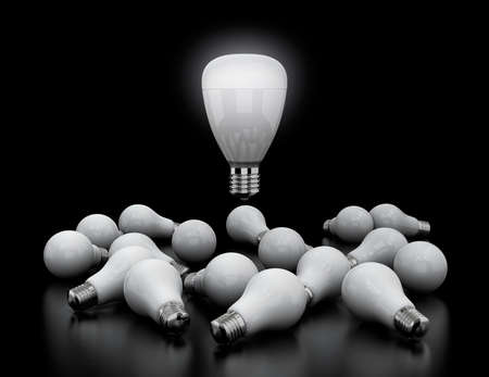 coolant: LED light bulb shining in midair, Incandescent light bulbs lay down on black ground. New light equipment concept. 3D rendering image.