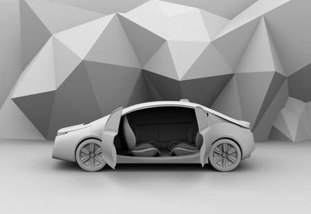 Clay rendering of self-driving car model. 3D rendering image.