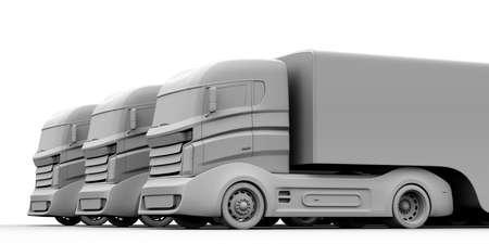 fleet: Clay rendering of hybrid trucks model. 3D rendering image.