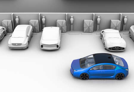 a lot: Blue car in parking lot.  Other cars are clay shading model. 3D rendering image.