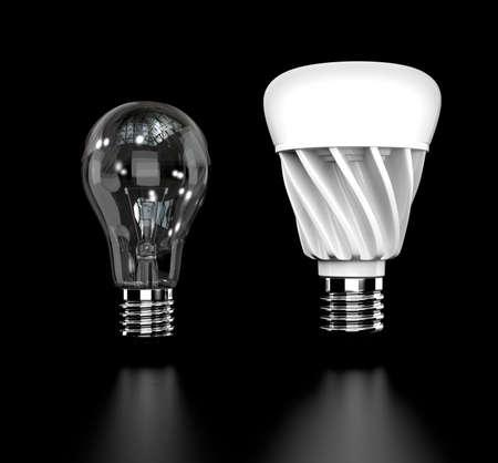 白熱電球と LED 電球黒い背景に分離されました。3 D レンダリング イメージ。