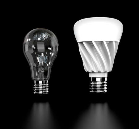 coolant: Incandescent light bulb and LED light bulb isolated on black background. 3D rendering image.