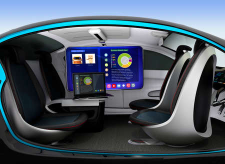 Autonomous car interior concept. Ceiling-mounted monitor help business man have video meeting when they moving on road. 3D rendering image.