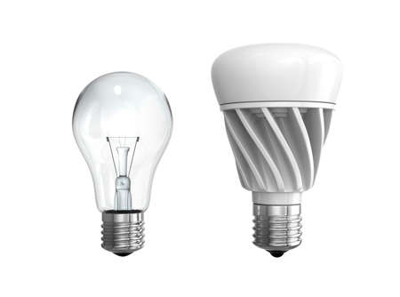 Incandescent light bulb and LED light bulb isolated on white background. 3D rendering image.
