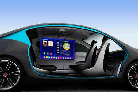 자치 자동차 인테리어 개념입니다. 그들은 도로에서 이동할 때 천정 모니터 도움 비즈니스 남자는 비디오 회의를 가지고있다. 3D 이미지를 렌더링.