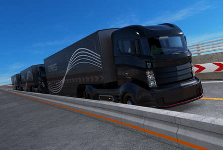 Platoon driving of autonomous hybrid trucks driving on highway. 3D rendering image.
