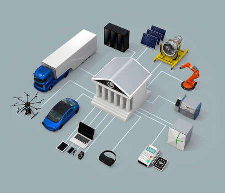 データ交換の市場の概念。3 D レンダリング イメージ。